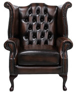 Chesterfield Queen Anne Wing Chair Antique Brown Leather