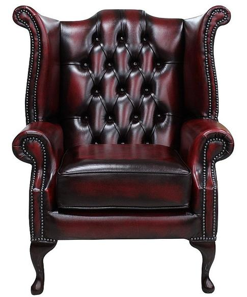 Chesterfield Queen Anne High Back Wing Chair UK Manufactured Antique Oxblood