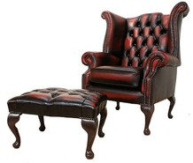 Chesterfield Offer Queen Anne High Back Wing Chair Antique Oxblood Leather Footstool