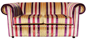Chesterfield 1930's 2 Seater Sofa Settee Olivia Gold Stripe Velvet Fabric