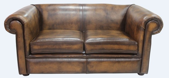 Chesterfield 1930's 2 Seater Settee Antique Tan Leather Sofa