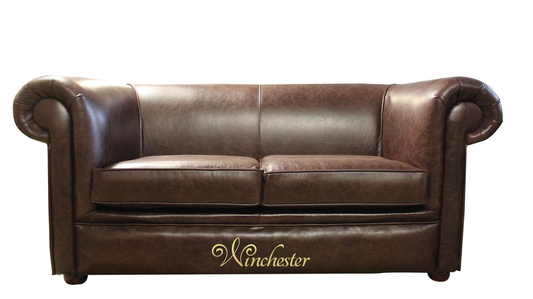 Chesterfield 1930 2 seater settee old english bruciatto for Brown leather couch with studs