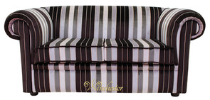 Chesterfield 1930's 2 Seater Sofa Settee Olivia Black Stripe Velvet Fabric