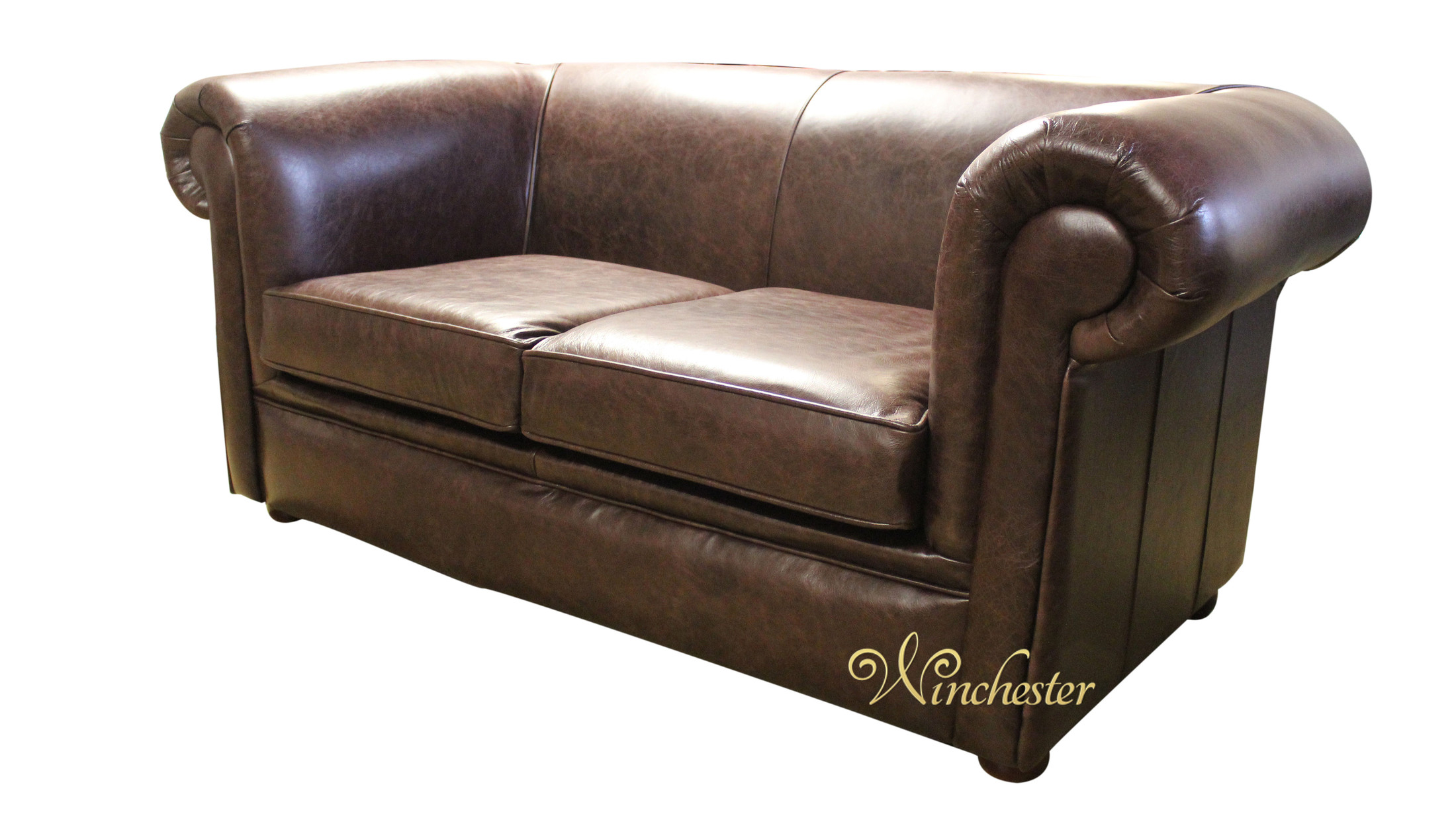 Chesterfield 1930u0027s 2 Seater Settee Old English Dark Brown Leather Sofa