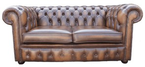 Chesterfield 2 Seater Antique Tan Leather Sofa Offer