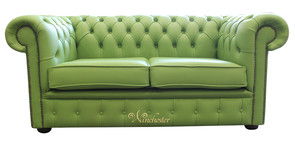 Chesterfield 2 Seater Apple Green Leather Sofa Offer