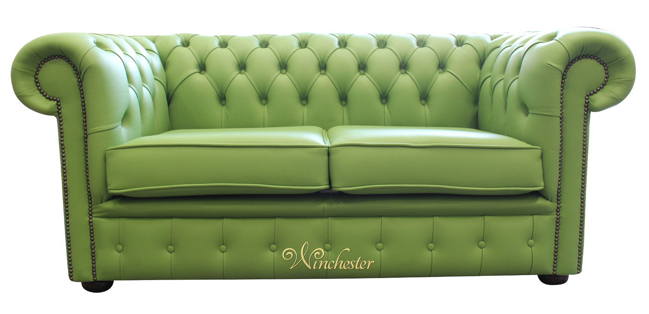 Chesterfield 2 Seater Apple Green Leather Sofa Settee Wc