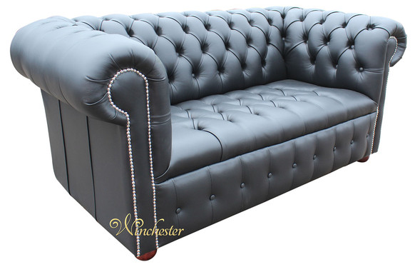 Chesterfield 2 Seater Settee Sofa Buttoned Seat Black Leather Silver Studding