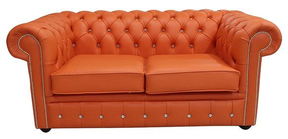 Chesterfield 2 Seater Crystallized Diamond Flamenco Orange Leather Sofa Offer