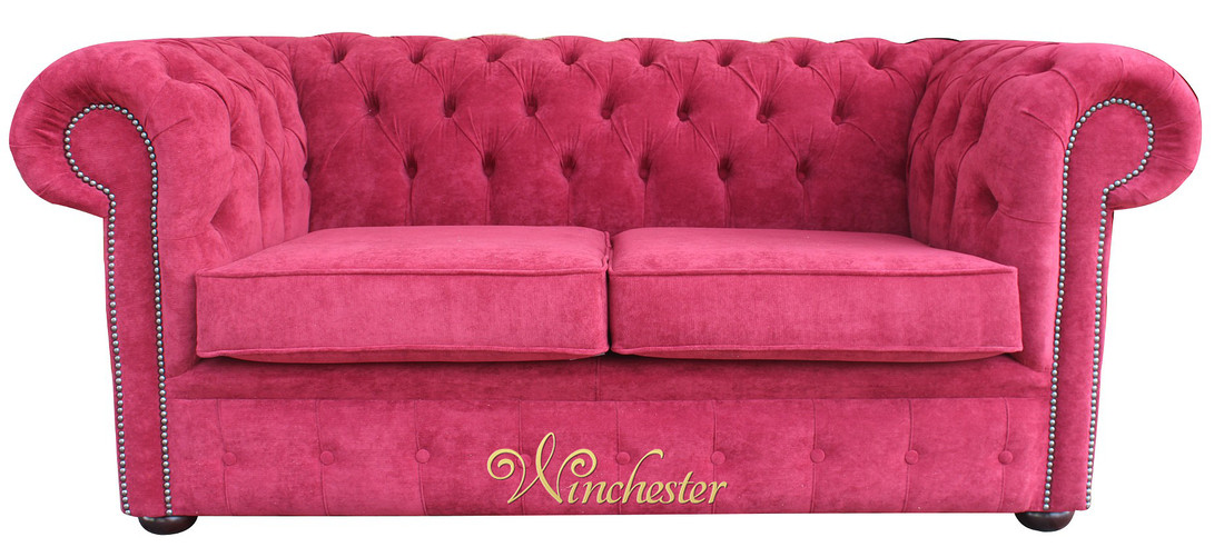 Chesterfield 2 Seater Fabric Sofa New Jersey Bordeaux Wc