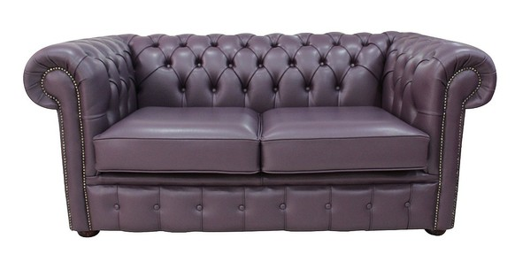 Buy Blueberry Leather Chesterfield Sofa At Designersofas4u