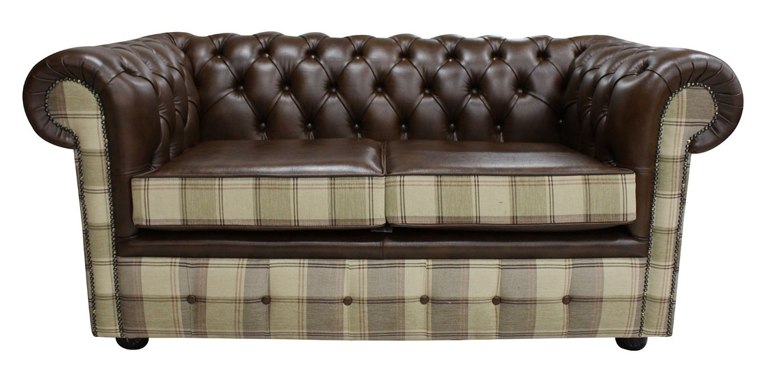 Chesterfield 2 Seater Lewis Check Mushroom & Antique Brown