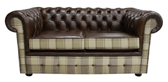 Chesterfield 2 Seater Lewis Check Mushroom & Antique Brown Leather Sofa Offer