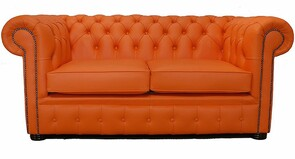 Chesterfield 2 Seater Mandarin Orange Leather Sofa Offer