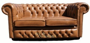 Chesterfield 2 Seater Settee Old English Tan Leather Sofa