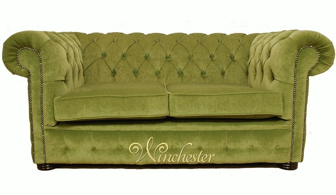 Chesterfield 2 seater settee sage green fabric sofa offer for Divano winchester