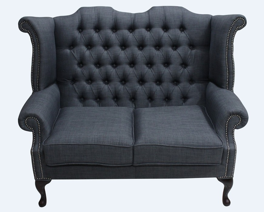 chesterfield 2 seater queen anne high back wing sofa charles charcoal grey linen fabric. Black Bedroom Furniture Sets. Home Design Ideas