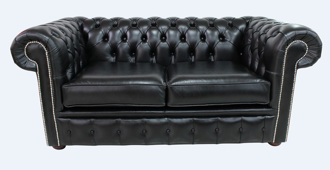 Black leather Chesterfield sofa UK DesignerSofas4u