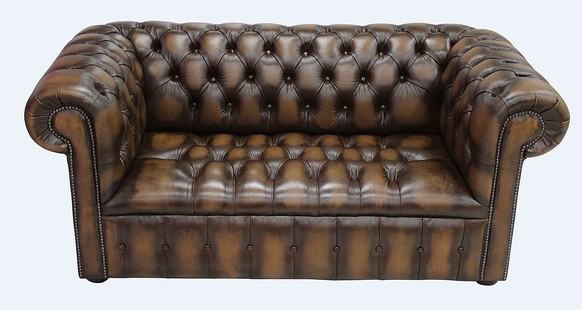 Chesterfield 2 Seater Settee Sofa Buttoned Seat Antique Tan Leather
