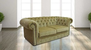 Chesterfield 2 Seater Settee Velluto Gold Fabric Sofa Offer
