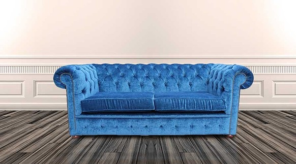 Chesterfield 2 Seater Settee Velluto Royal Blue Fabric Sofa Offer