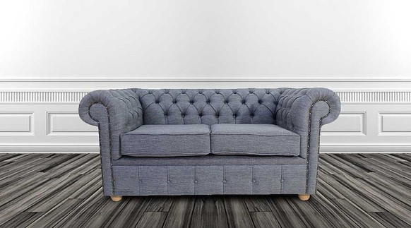 Chesterfield 2 Seater Settee Zoe Granite Grey Fabric Sofa Offer