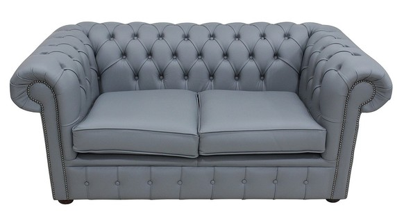 Chesterfield 2 Seater Shelly Piping Grey Leather Sofa Offer