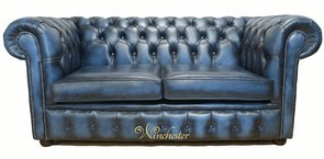 Chesterfield 2 Seater Antique Blue Leather Sofa Offer