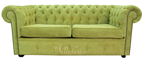 Chesterfield 2 Seater Settee Azzuro Olive Green Velvet Fabric Sofa Offer