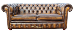 Chesterfield 2 Seater Antique Gold Leather Sofa Offer