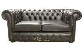 Chesterfield 2 Seater Black Leather Sofa Offer