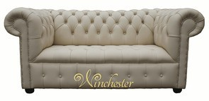 Chesterfield 2 Seater Settee Sofa Buttoned Seat Ivory Cottonseed Leather