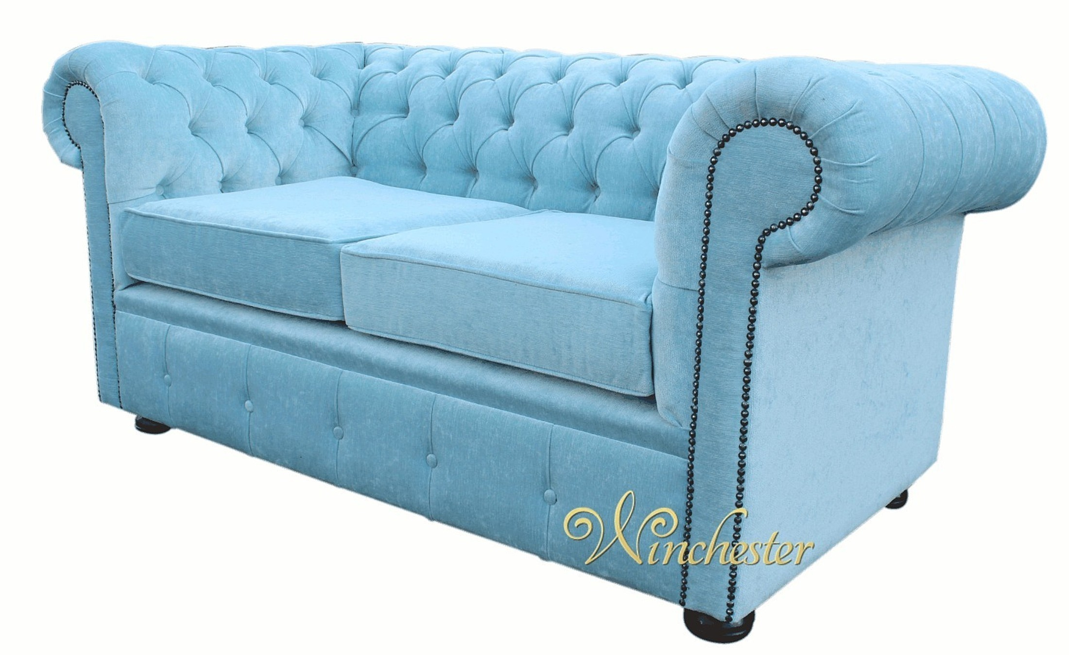 Chesterfield 2 Seater Sofa Settee Duck Egg Blue Velluto Wc