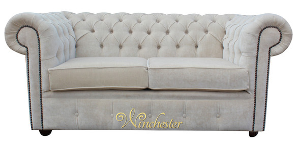 Chesterfield 2 Seater Settee Elegance Oyster Velvet Sofa Offer