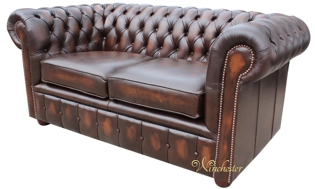chesterfield london 2 seater antique brown leather sofa settee offer