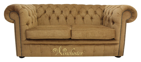 Chesterfield 2 Seater Settee Perla Bronze Velvet Sofa Offer