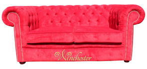 Chesterfield 2 Seater Settee Azzuro Post Box Red Velvet Fabric Sofa Offer