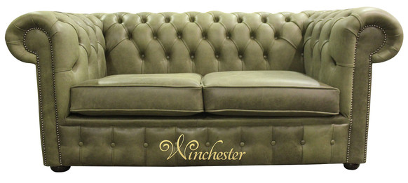 Chesterfield 2 Seater Settee Selvaggio Sage Green Leather Sofa