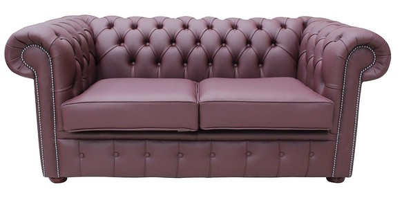 Chesterfield 2 Seater Sofa Settee Shelly Burgandy Leather