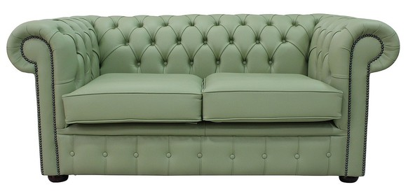 Chesterfield 2 Seater Sofa Settee Shelly Pea Green Leather