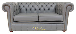 Chesterfield 2 Seater Sofa Settee Vele Iron Grey Leather Sofa Offer