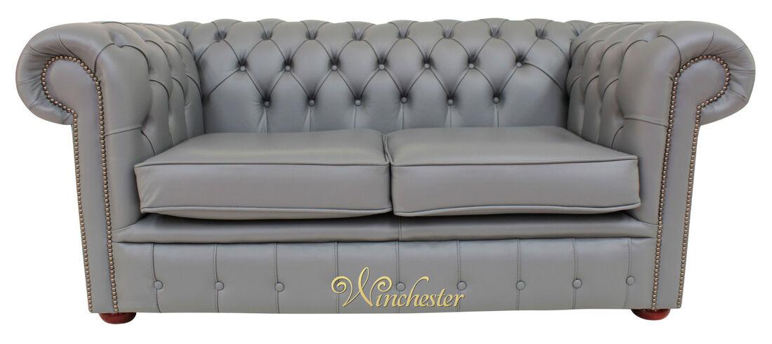 Chesterfield 2 Seater Sofa Settee Vele Iron Grey Leather ...