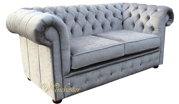 Chesterfield 2 Seater Settee Perla Illusions Grey Velvet Sofa Offer