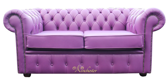 Chesterfield 2 Seater Settee Wineberry Purple Leather Sofa Offer