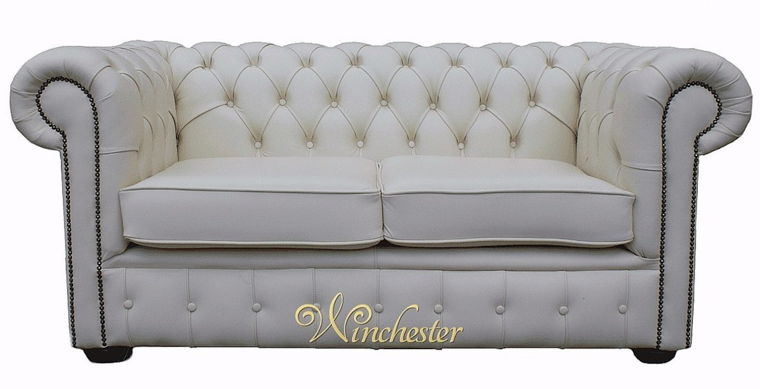 Chesterfield 2 seater white leather sofa offer for Classic sofa malaysia