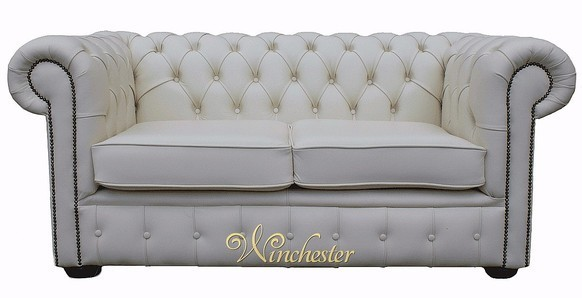 Chesterfield 2 Seater White Leather Sofa Offer