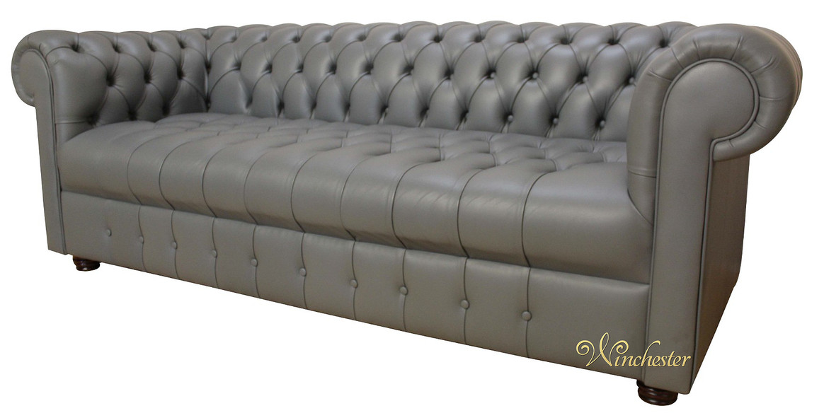 Exceptionnel Chesterfield Thomas 3 Seater Sofa Settee Buttoned Seat Soft Iron Grey  Leather Sofa Offer