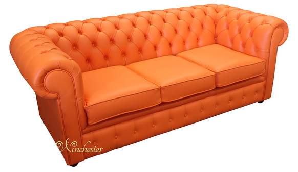 Chesterfield Thomas 3 Seater Settee Mandarin Orange Leather Sofa Offer