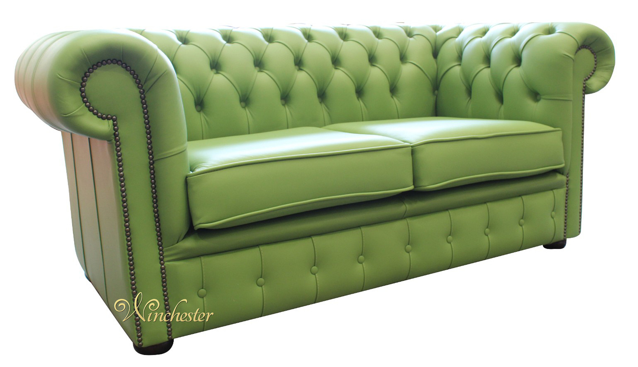 ... Chesterfield Apple Green Leather Sofa Wc