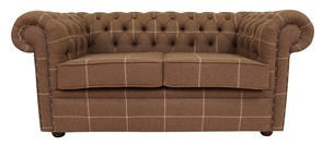 Chesterfield Arnold Wool 2 Seater Sofa Settee Hyde Park Natural And Beige Check Tweed